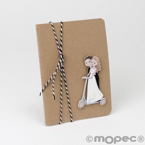 Pop & Fun Skateboard Braut und Bräutigam Notebook zweifarbig Band 10x14cm