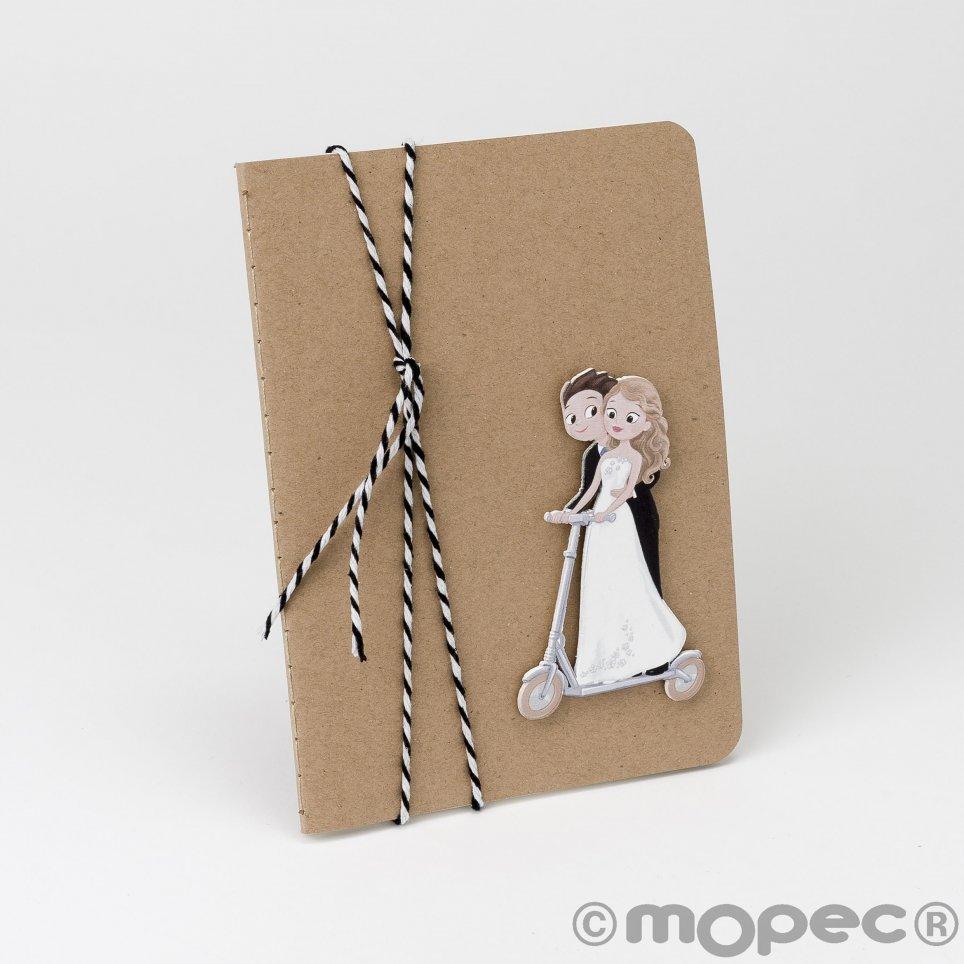 Libreta novios patinete Pop&Fun cinta bicolor 10x14cm