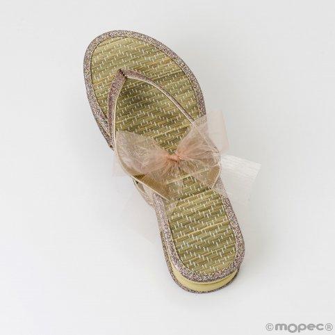 Flip flop bambú detalle lamé L con cinta