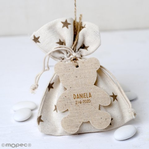 Star bag 5oco dumplings, beig bear pendant