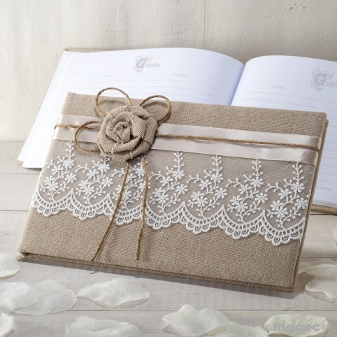 Jute signature book with flower and toe