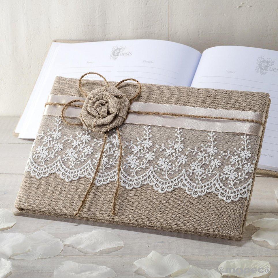Jute Signaturbuch mit Blume und Spitze