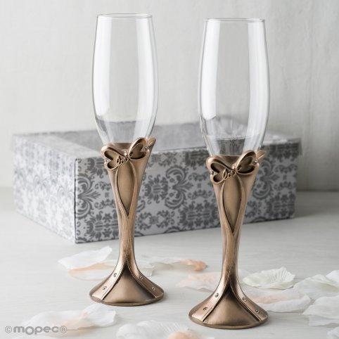 Set di bicchieri di prua in bronzo amore