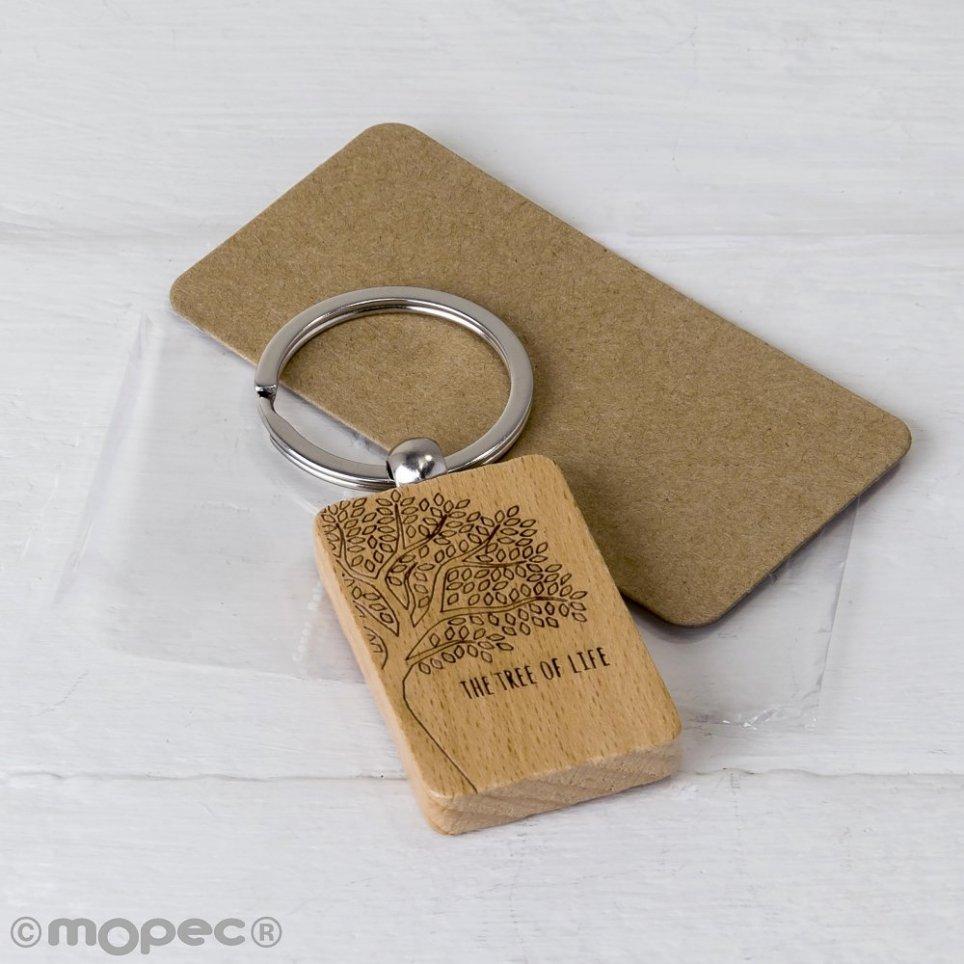 Portachiavi rettangolare in legno L'albero della vita 9x3