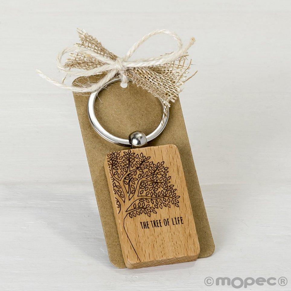 Portachiavi in legno decorato con l'albero della vita 9x4