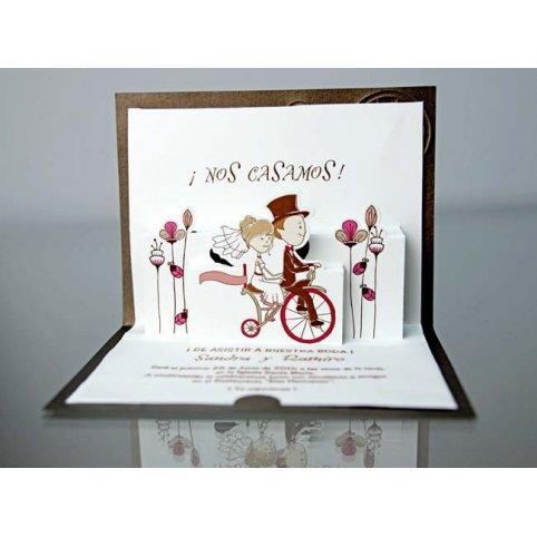 Invitación de boda pareja en bicicleta 34921