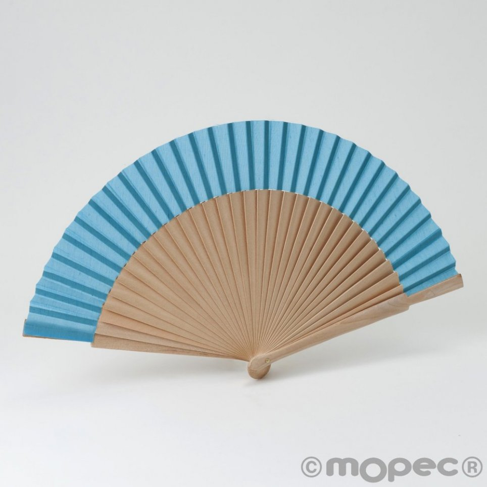 Abanico madera natural y tela azul turquesa 23cm. min.6