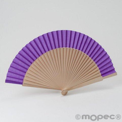 Wooden fan 23cm. light lilac min.6