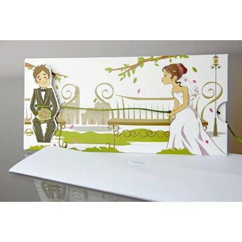 Biglietto d'invito matrimonio romantico novello 34937