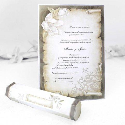 Invitación de boda papiro Cardnovel 30109