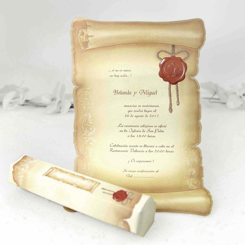 Invitación de boda papiro envejecido Cardnovel 30114