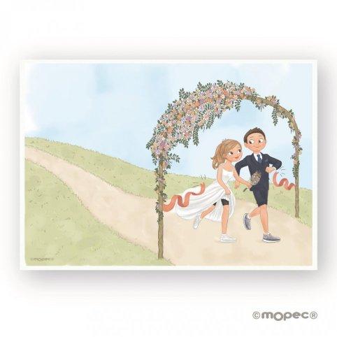Lámina para firmas novios corriendo boda Pop&Fun 29