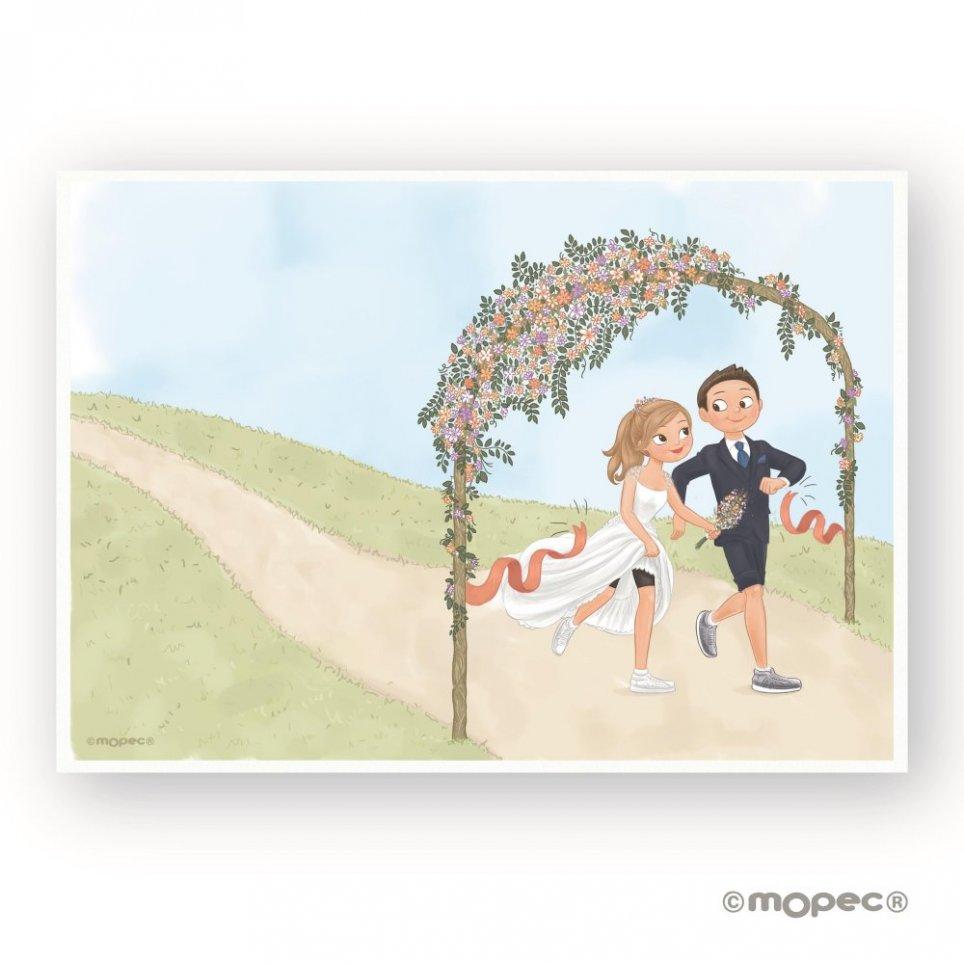 Unterschrift Folie Braut und Bräutigam läuft Pop & Fun 29 Hochzeit