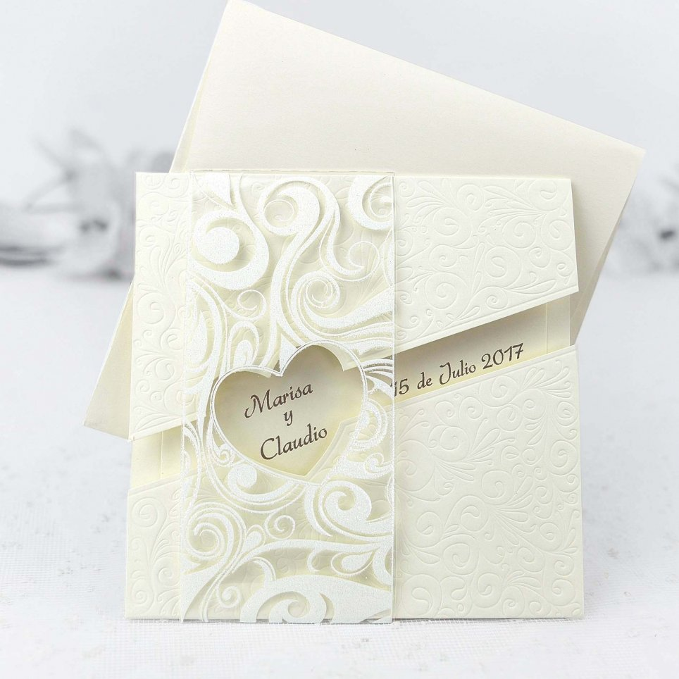 Finestra dell'invito di nozze al cuore Cardnovel 32426