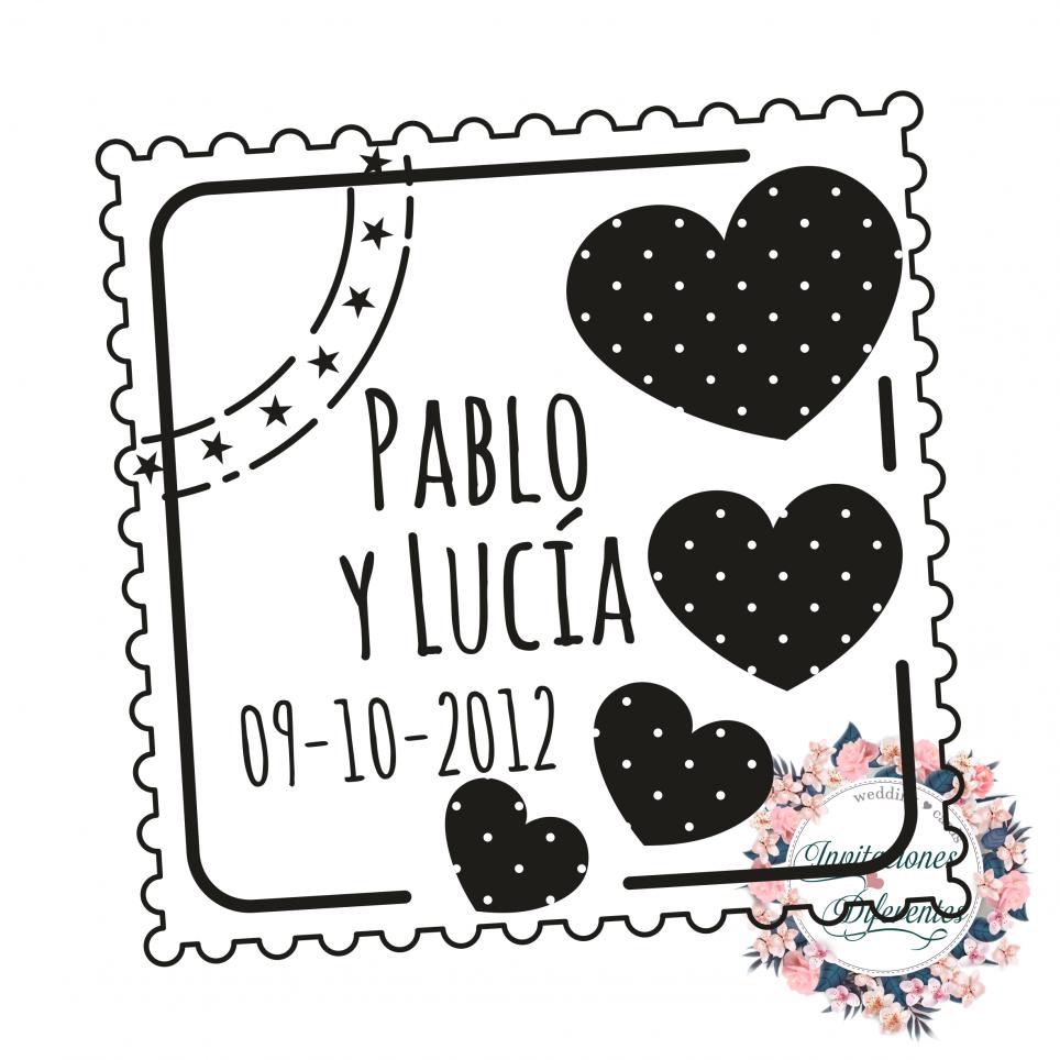 Timbro di gomma automatico e personalizzato per matrimonio -Postal con Corazón-