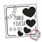 Automatischer und personalisierter Stempel für die Hochzeit -Postal con Corazón-