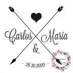 Automatic and custom rubber stamp for wedding -Arrows-