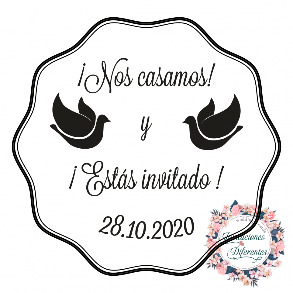 Rubber stamp for wedding peace pigeons