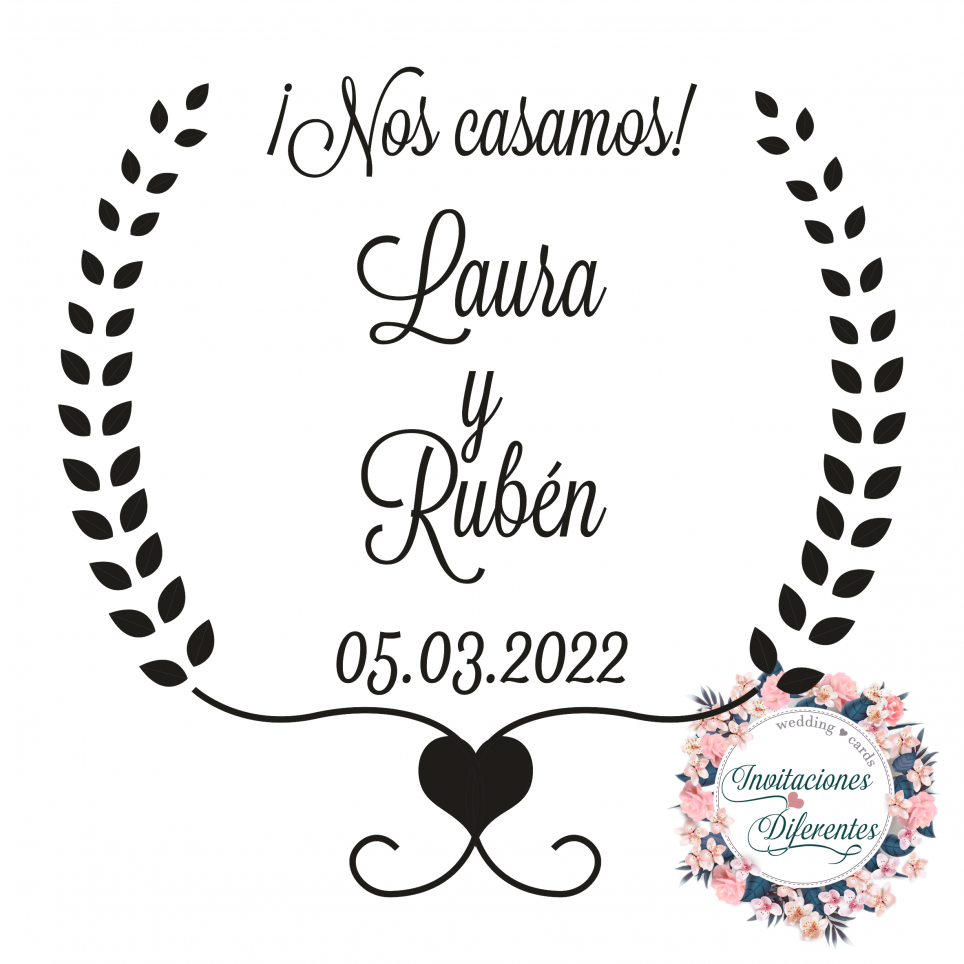Personalized rubber stamp for wedding -We get married-