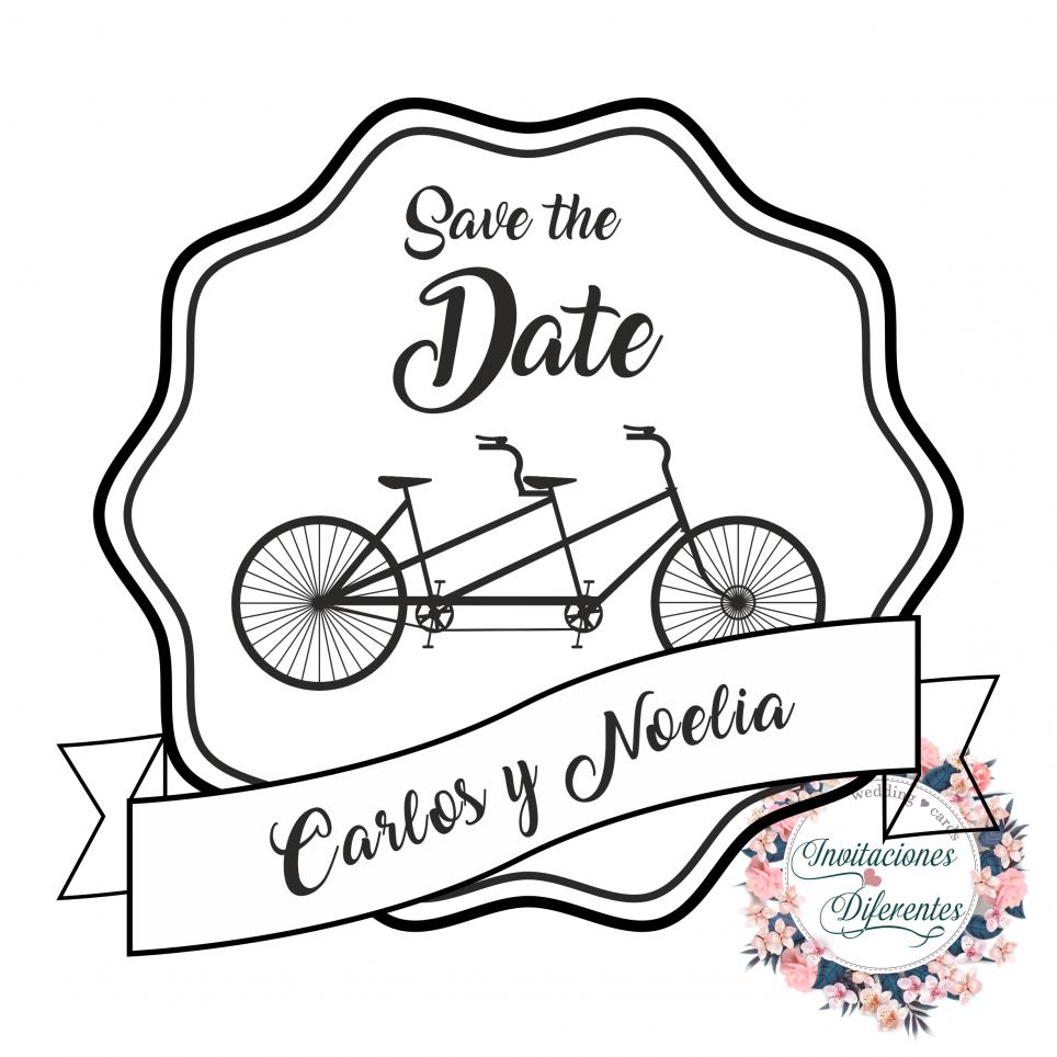 Timbro di gomma personalizzato per bicicletta in tandem da matrimonio