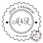 Custom rubber stamp for initial wedding