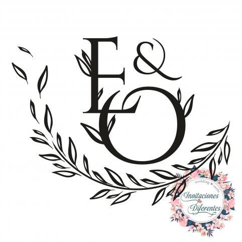 Timbro di gomma personalizzato per iniziali e foglie di matrimonio