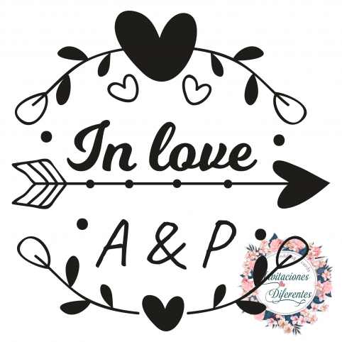 Rubber stamp for custom wedding with In Love initials