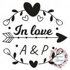 Sello de caucho para boda personalizado con iniciales In Love