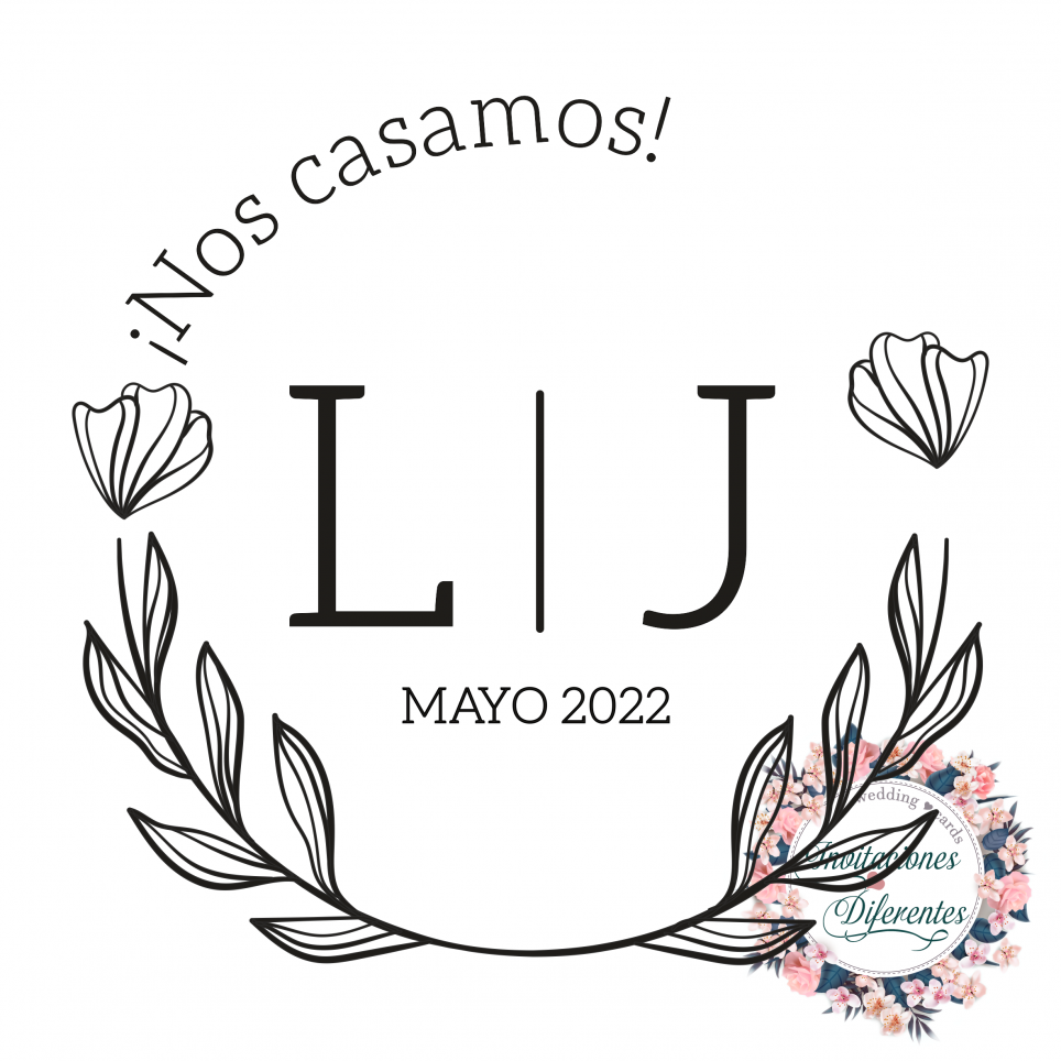 Personalized rubber stamp for wedding with floral initials