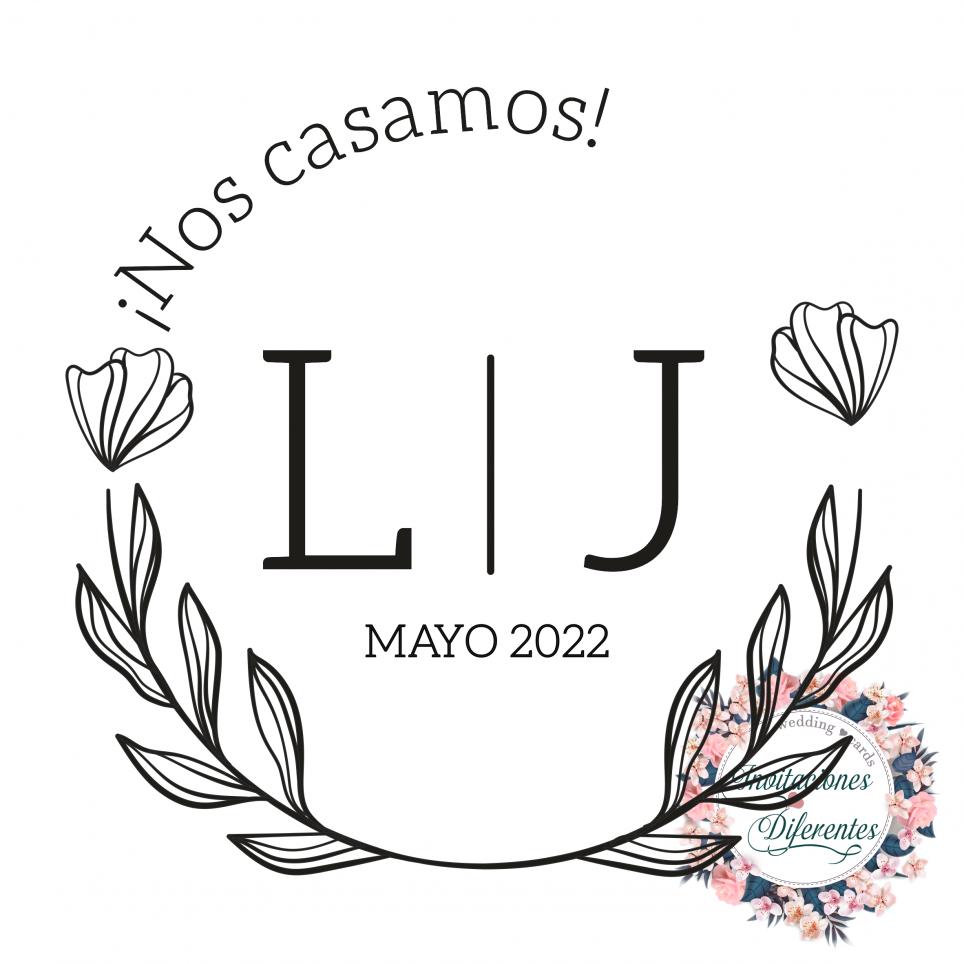 Timbro di gomma di matrimonio personalizzato con iniziali floreali