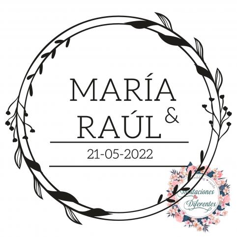 Timbro di gomma floreale di matrimonio con nomi e data