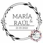 Floral rubber stamp for wedding with names and date