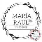 Hochzeitsblumenstempel mit Namen und Datum