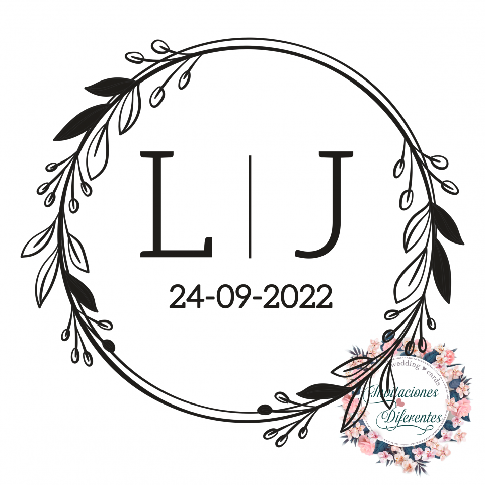 Personalisierter Hochzeitsstempel mit Initialen und Datum