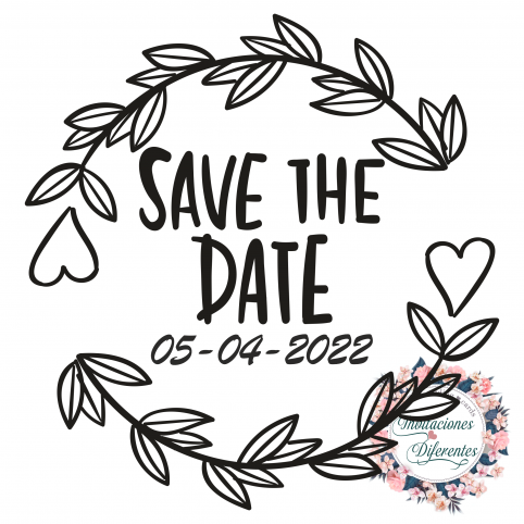 Custom wedding rubber stamp with Save the date