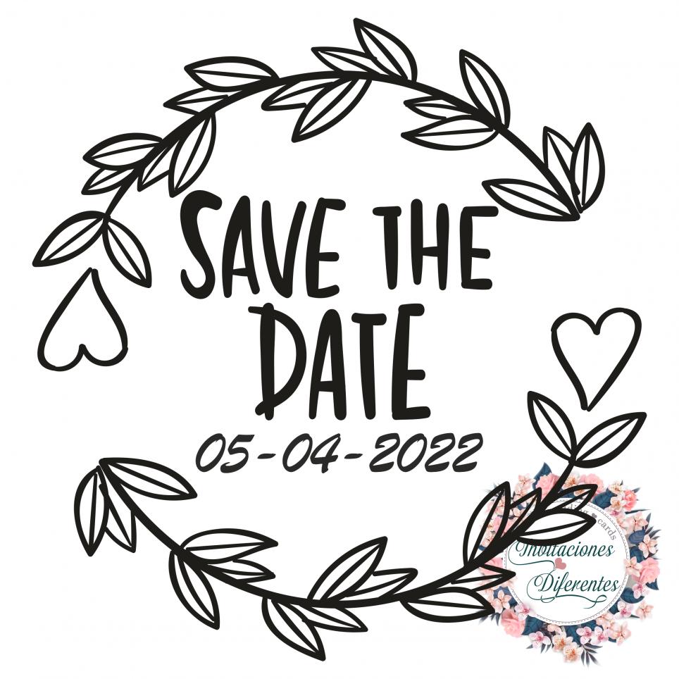 Timbro di gomma di matrimonio personalizzato con Save the date
