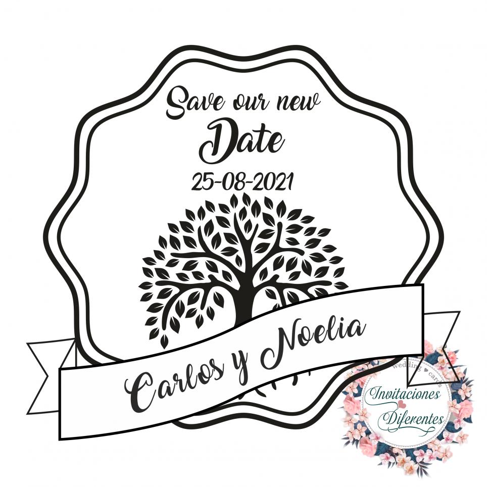Personalizzato Salva il nostro nuovo timbro di gomma per matrimonio con l'albero della vita