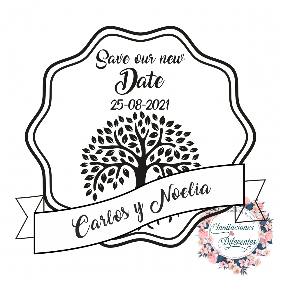 Custom Wedding Rubber stamp Save our new Date with Tree of Life