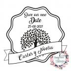 Personalisiert Speichern Sie unseren neuen Datumshochzeitsstempel mit Baum des Lebens