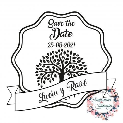 Timbro di gomma personalizzato per matrimonio Salva la data con albero della vita
