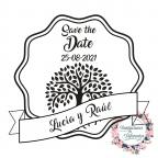 Personalisierte Save the Date Hochzeitsstempel mit Baum des Lebens