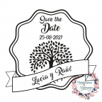 Save the Date Custom Wedding Rubber stamp with Tree of Life