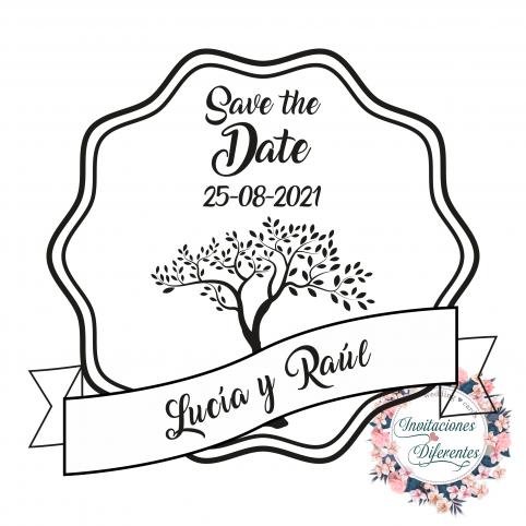 Personalisierte Hochzeitsstempel mit Baum des Lebens