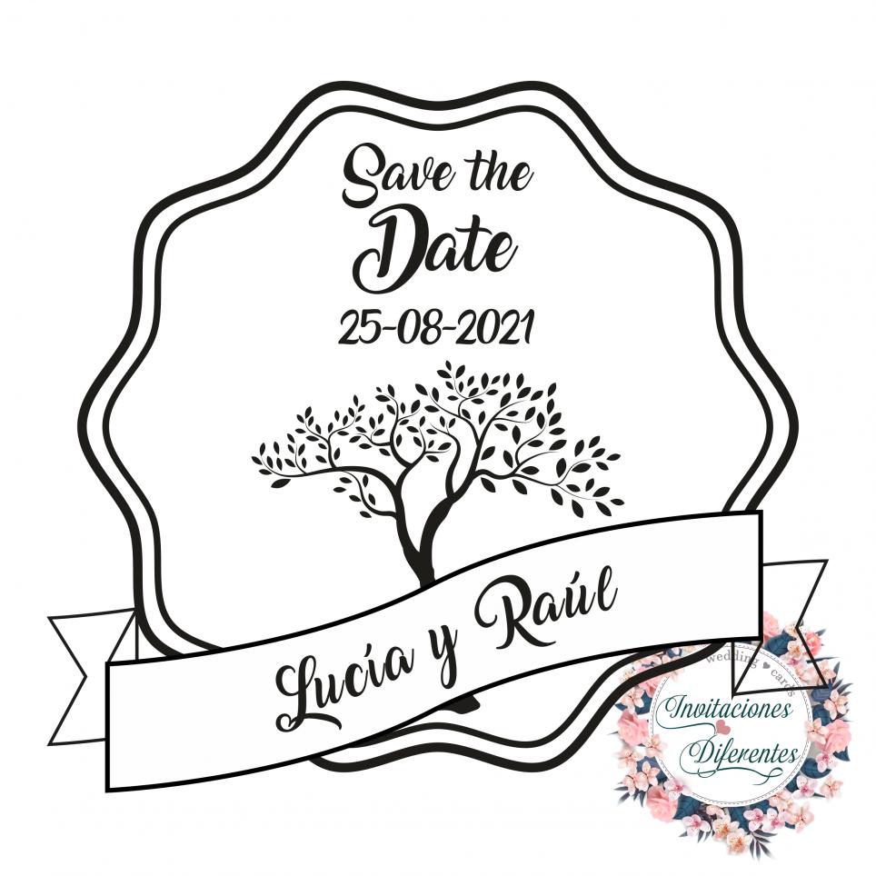 Timbro di gomma di matrimonio personalizzato con albero della vita