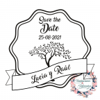Rubber stamp for personalized wedding with tree of life