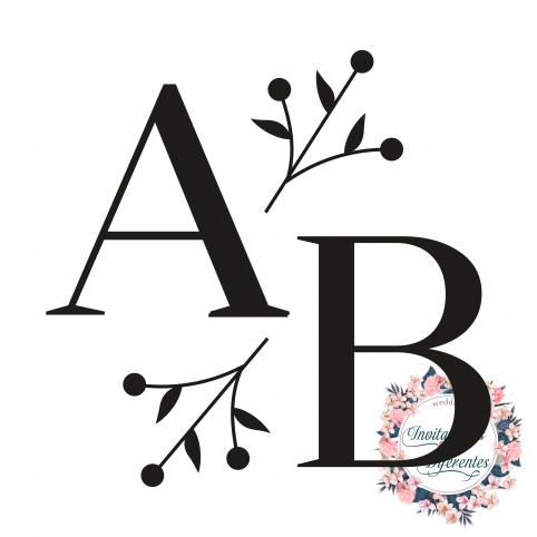 Stempel für Hochzeit personalisierte Initialen und Zweige