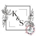 Custom wedding rubber stamp with initials and flowers