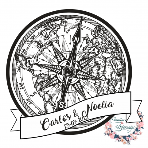 Automatic and custom rubber stamp for wedding compass and map