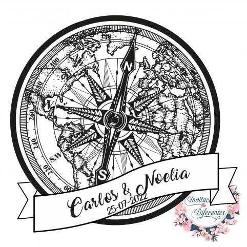Automatischer und personalisierter Hochzeitskompass und Kartenstempel