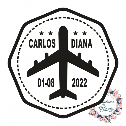 Custom rubber stamp for airplane wedding